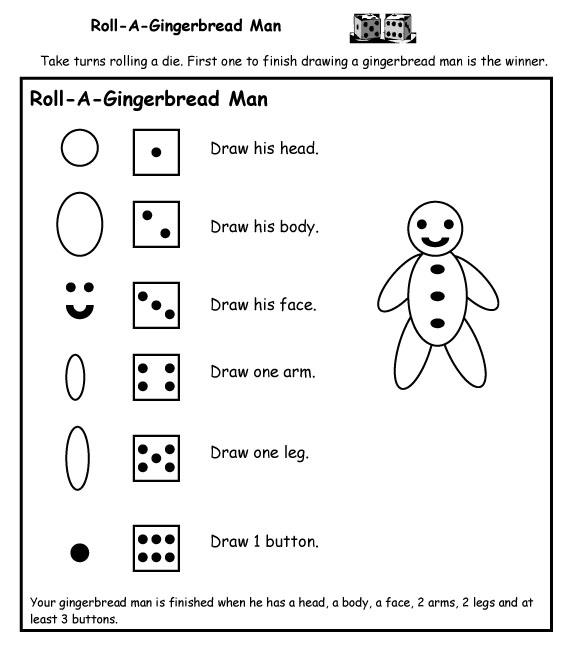 Gingerbread activities little giraffes teaching ideas a to z sheet of paper or use the dotted template included in the download they work in small groups and take turns rolling a die to make a gingerbread man maxwellsz